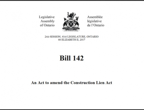 Ontario's Construction Lien Amendment Act, Bill 142 Passes Second Reading