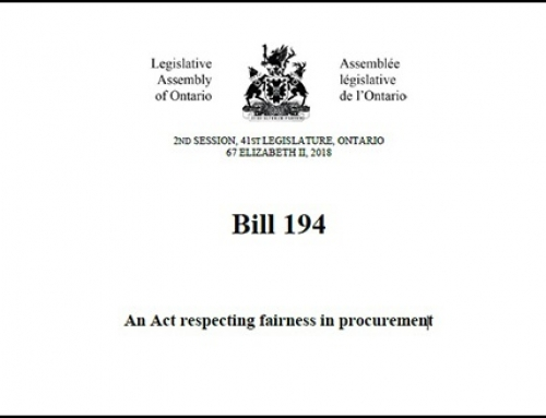 Ontario's Fairness in Procurement Act, Bill 194, is ordered for Third Reading