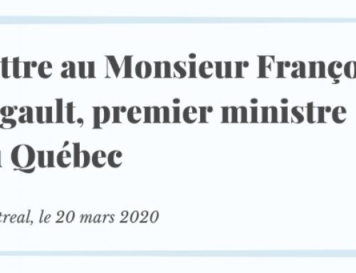 Lettre au Monsieur François Legault, premier ministre du Québec